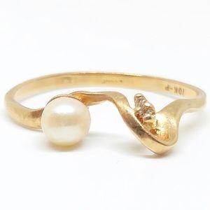 10k Yellow Gold Genuine Pearl & Diamond Ring